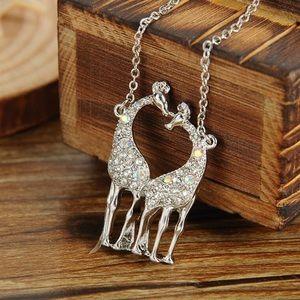 Double Giraffe Rhinestone Necklace